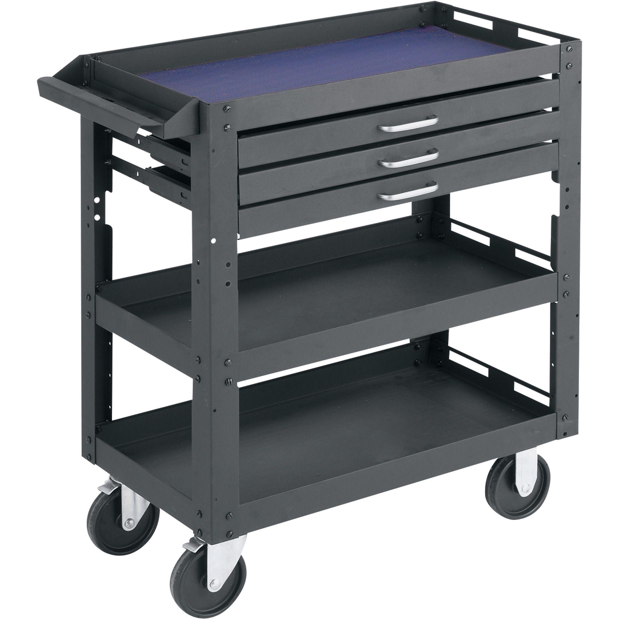 northern industrial tools 3 shelf 3 drawer work cart
