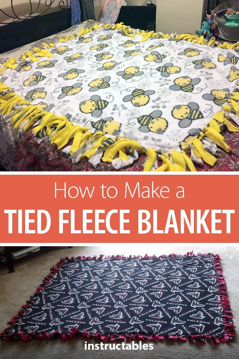How to Make a Tied Fleece Blanket Diy tie blankets, No