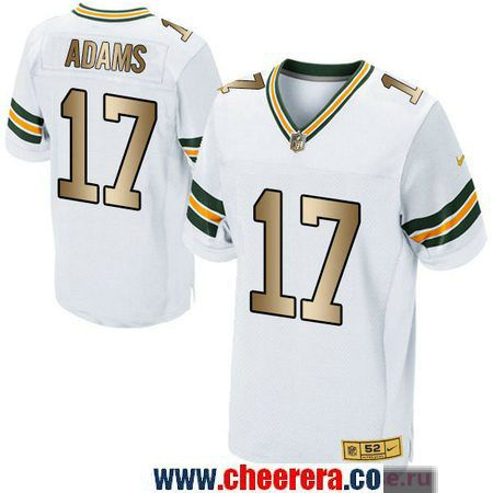 3db94076f Men s Green Bay Packers  17 Davante Adams White With Gold Stitched NFL Nike  Elite Jersey