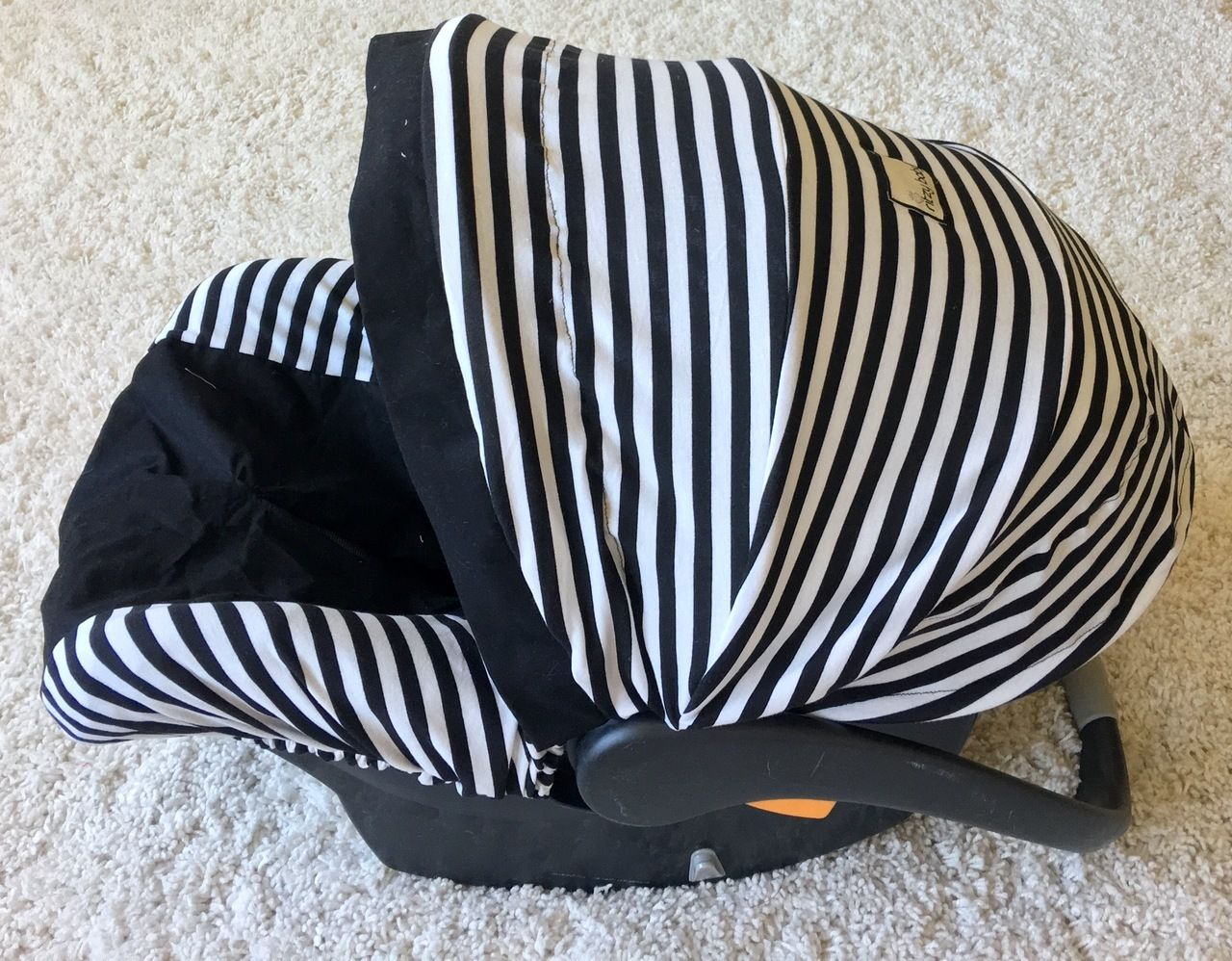 Infant Car Seat Cover - Black and White Stripe Knit