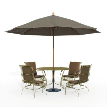 3D Model Of Outdoor Iron Dinning Furniture Set With Parasol 03 39