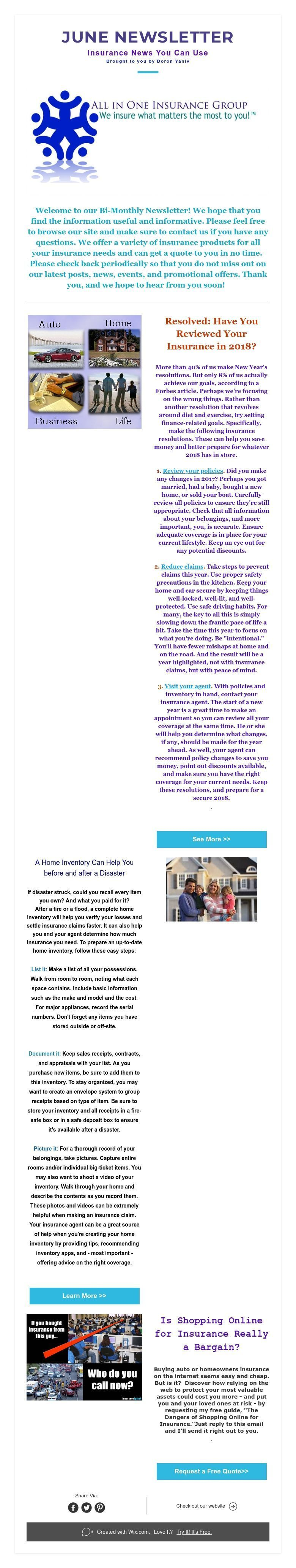 June newsletter insurance news you can use brought to you