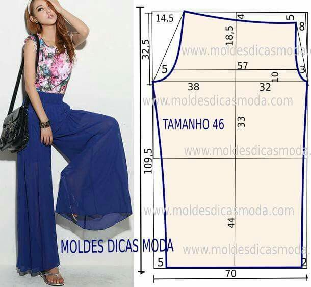 Pantalón ancho | Coser | Pinterest | Costura, Moldes y Pantalones