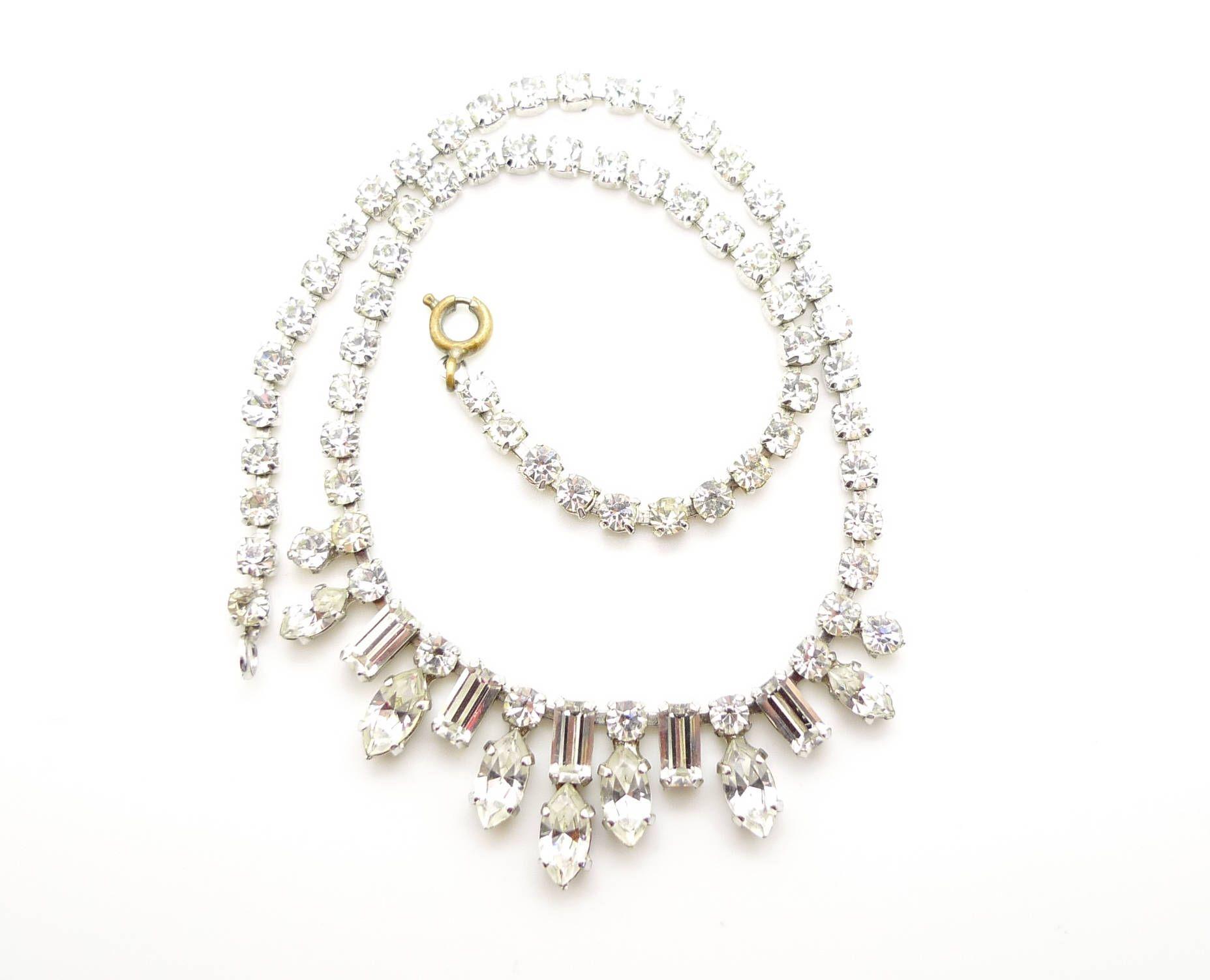 Vintage Crystal Rhinestone Diamante Necklace Choker Crystal