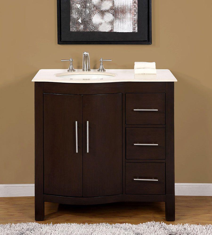 36 Inch Marble Top Bathroom Vanity Off Center Left Side Sink