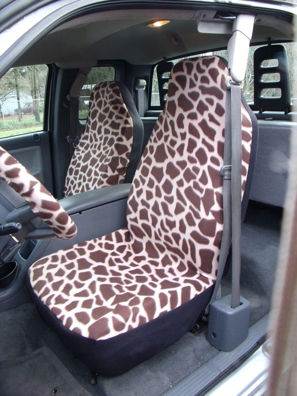 1 Set of Brown Giraffe Print, Car Seat Covers and steeling wheel ...
