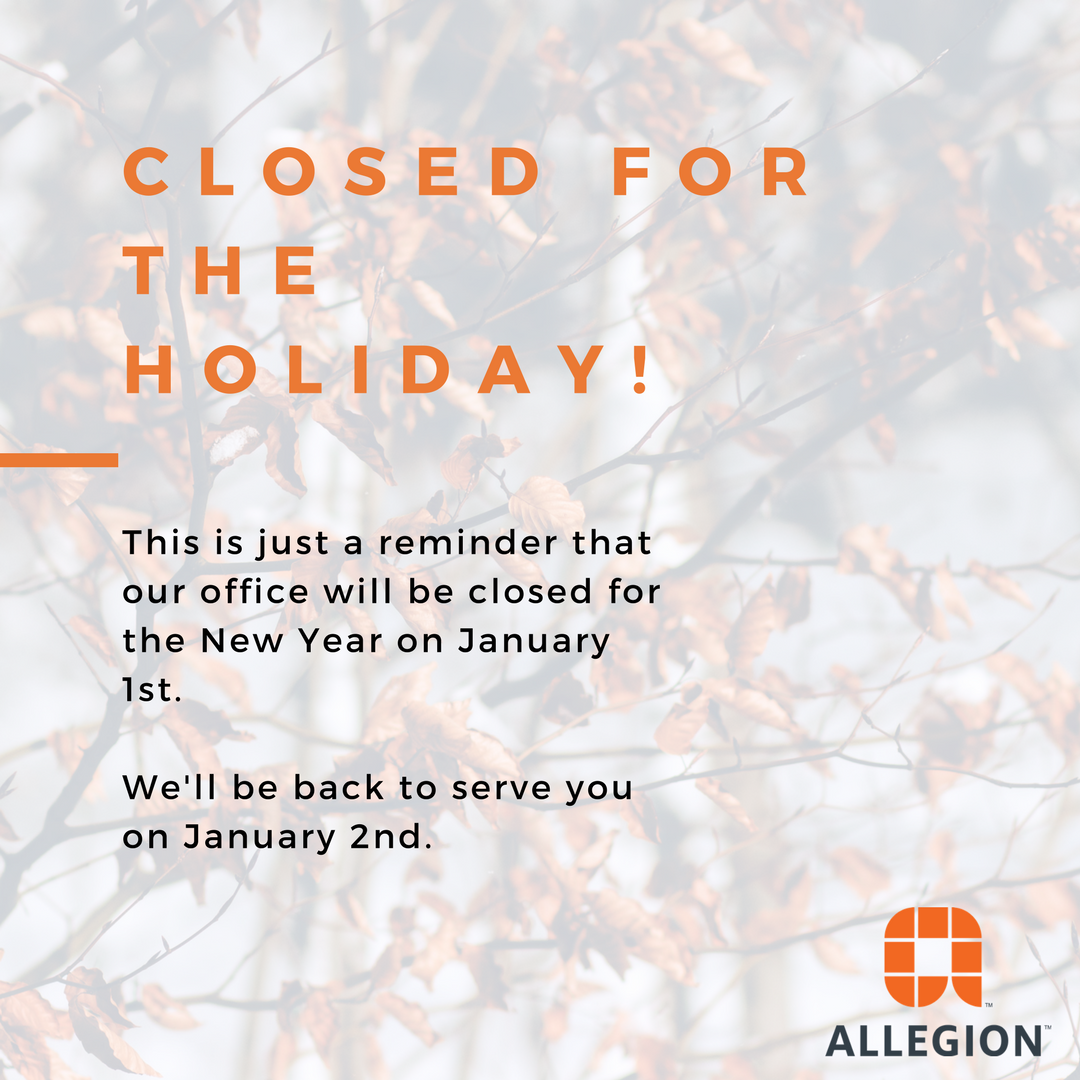 This is just a reminder that our office will be closed on