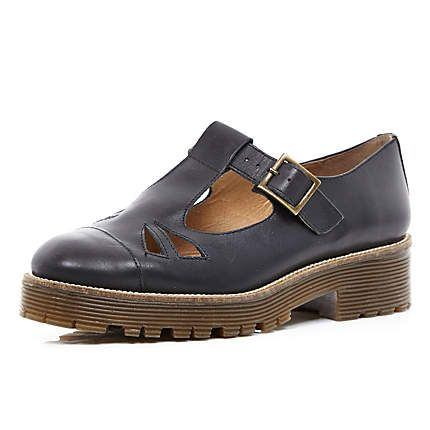 Black cut out cleated sole shoes $120.00