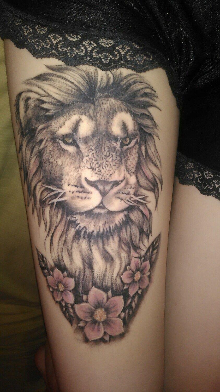 Lion Tattoo Women Thigh Tatuajes León Mujeres Muslo Tatoos