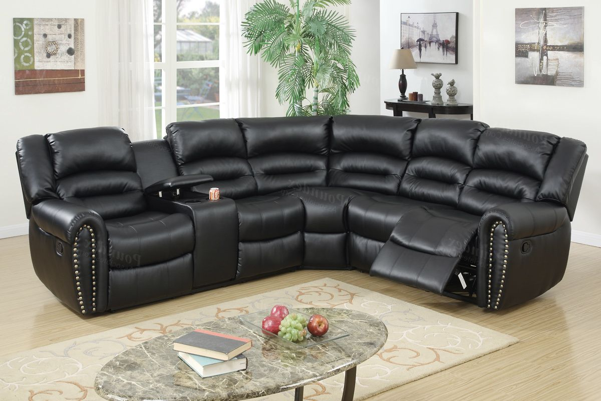 3pc Motion Sectional In Black Bonded Leather 2 Recliners
