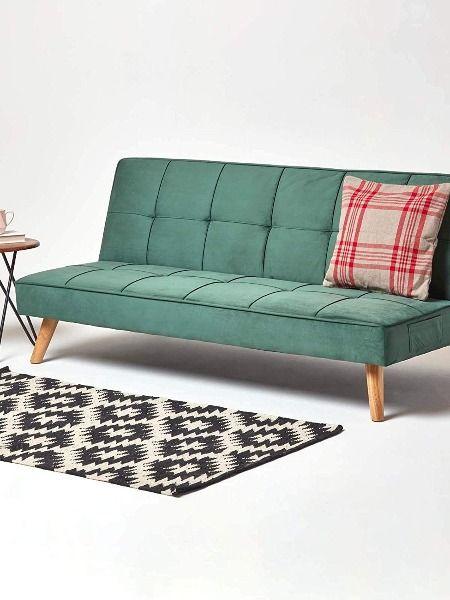 HOMESCAPES Velvet Sofa Bed Dark Green 3 Seater Sofa Click