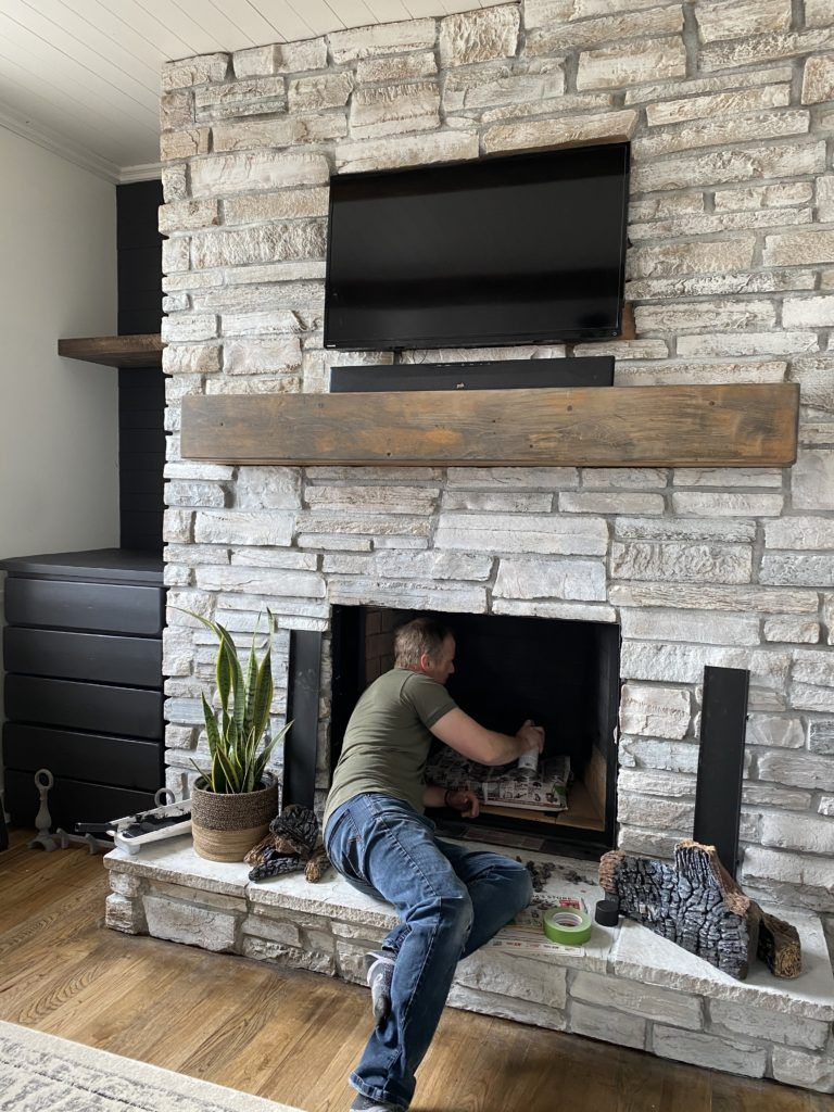 Photo of How to Whitewash a Stone Fireplace – Super Easy Project – Designs By Karan