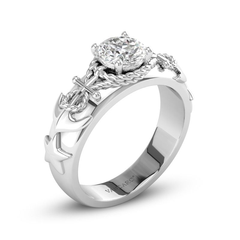 Harbor Of Love Rope Anchor Engagement Solitaire Ring Wit Blue
