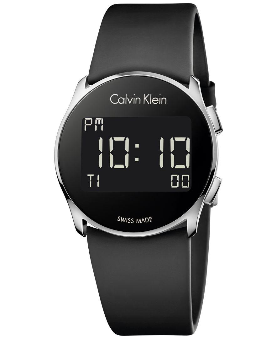 98400829e985 Calvin Klein Women s Swiss Digital Future Black Rubber Strap Watch 39mm  K5B23TD1