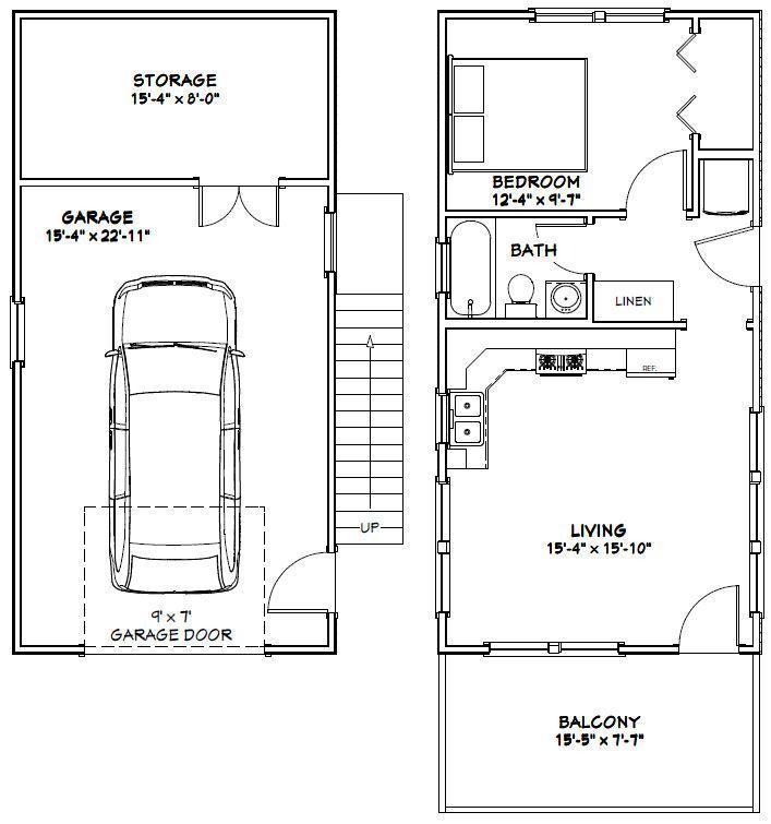 16x32 Tiny House - #16X32H9B - 647 sq ft - Excellent Floor Plans ...