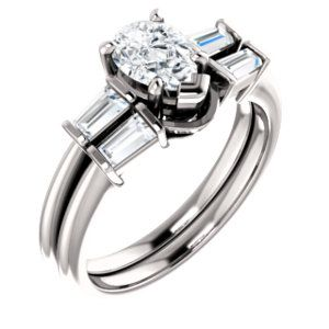 10K White  7x5mm Pear Engagement Ring Mounting