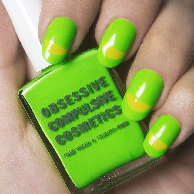 Obsessive Compulsive Neon Green And Yellow Moon Manicure Twist