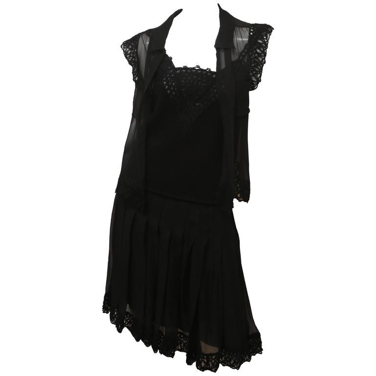 Chanel Three-piece Black Silk Ensemble