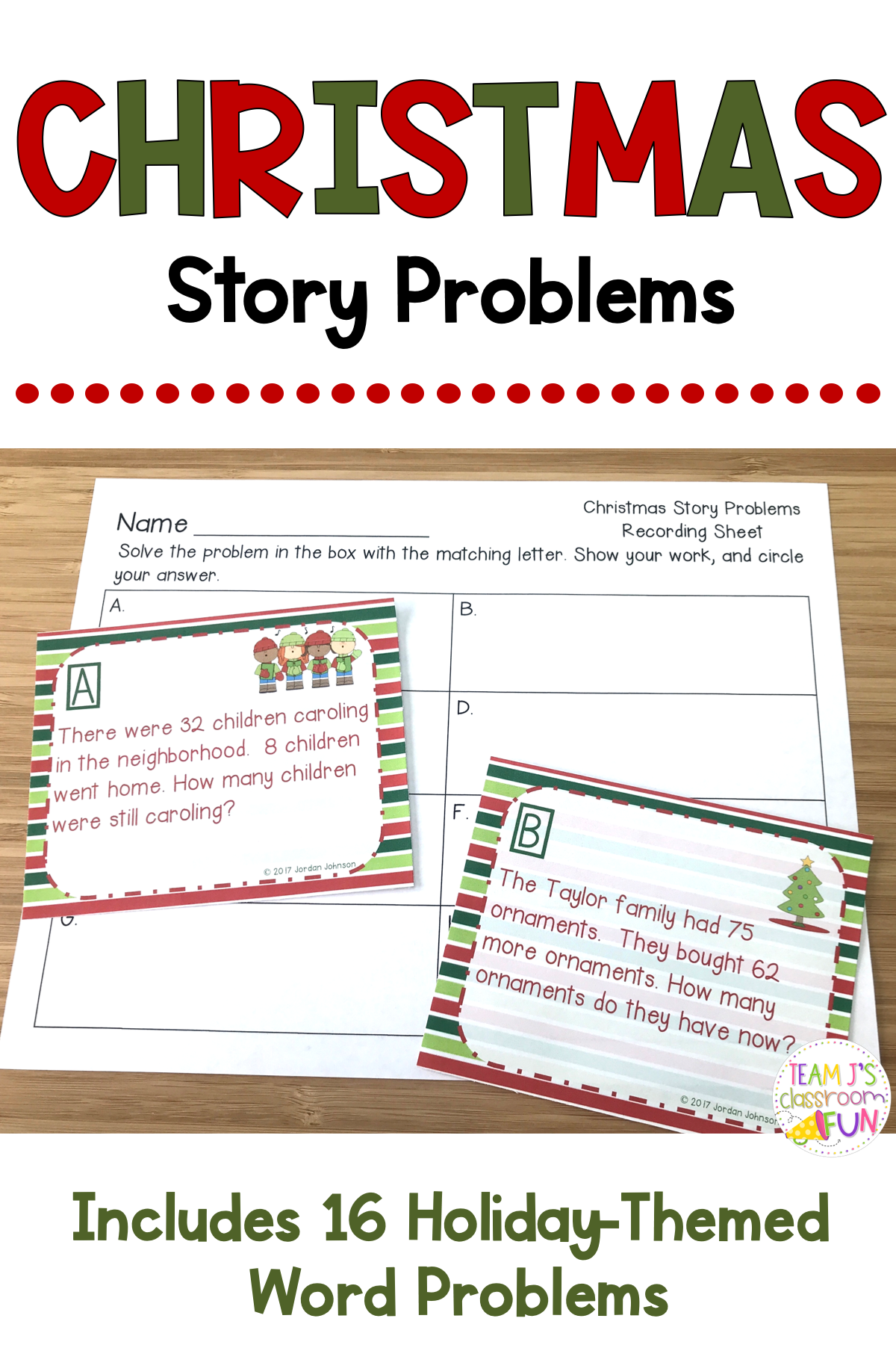 Christmas Math Story Problems