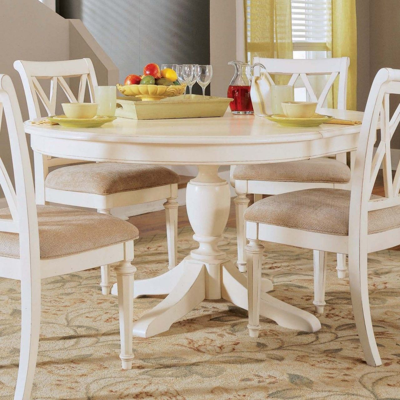 American Drew Camden Round Dining Table In White White Round Dining Table Kitchen Table Settings Round Pedestal Dining Table