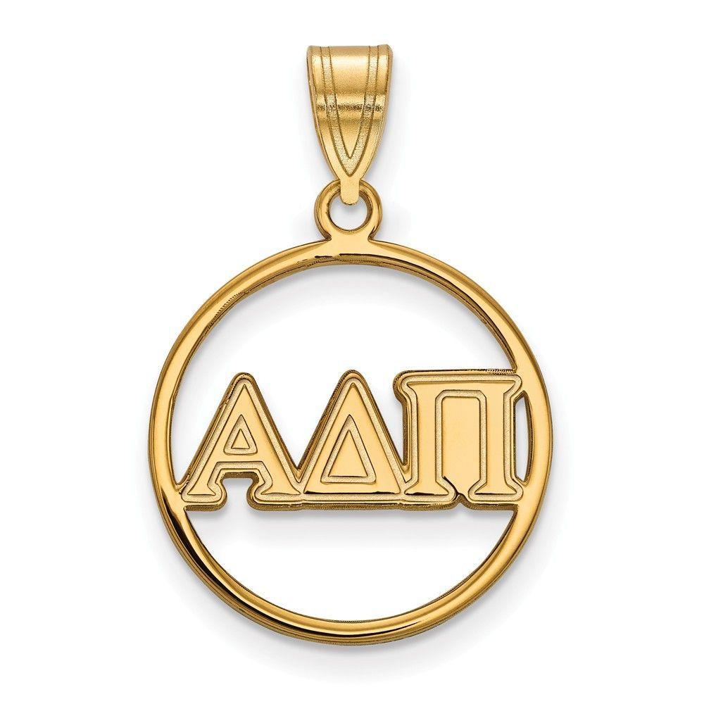 Sterling Silver w/GP LogoArt Alpha Delta Pi Small Circle Pendant