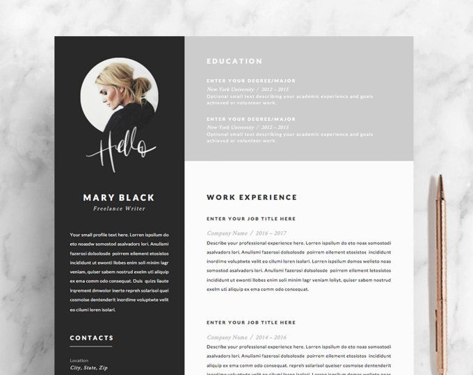 5 page Resume / CV Template + Cover Letter + References for MS Word ...