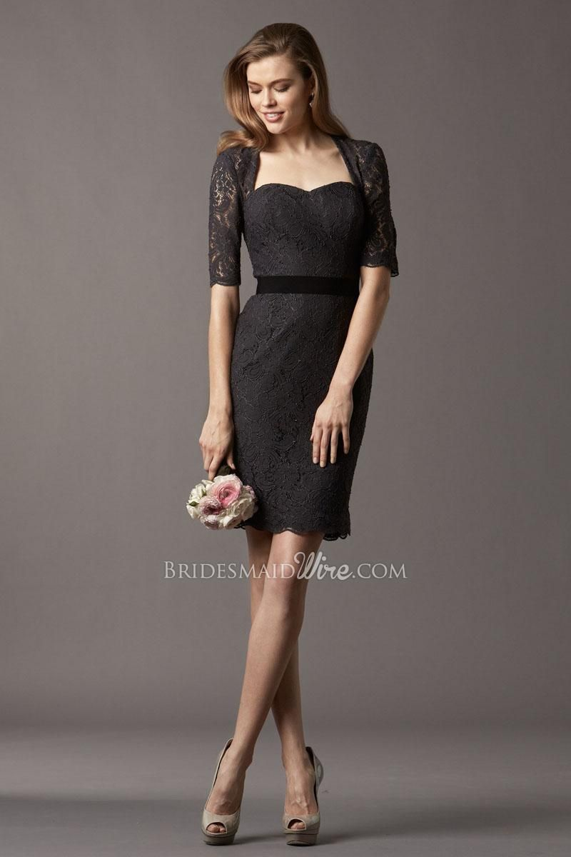 black lace short sleeve queen neckline short slim keyhole back ...