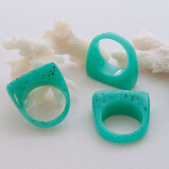 Aqua Fresh Mint Eco Resin Rectangle Front Ring: Choose your size