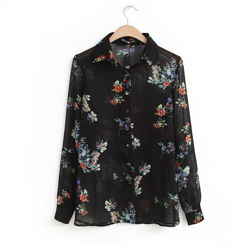 12 www.katwear.com Mango Black Floral Print Lightweight Shirt ... 1c61ad622