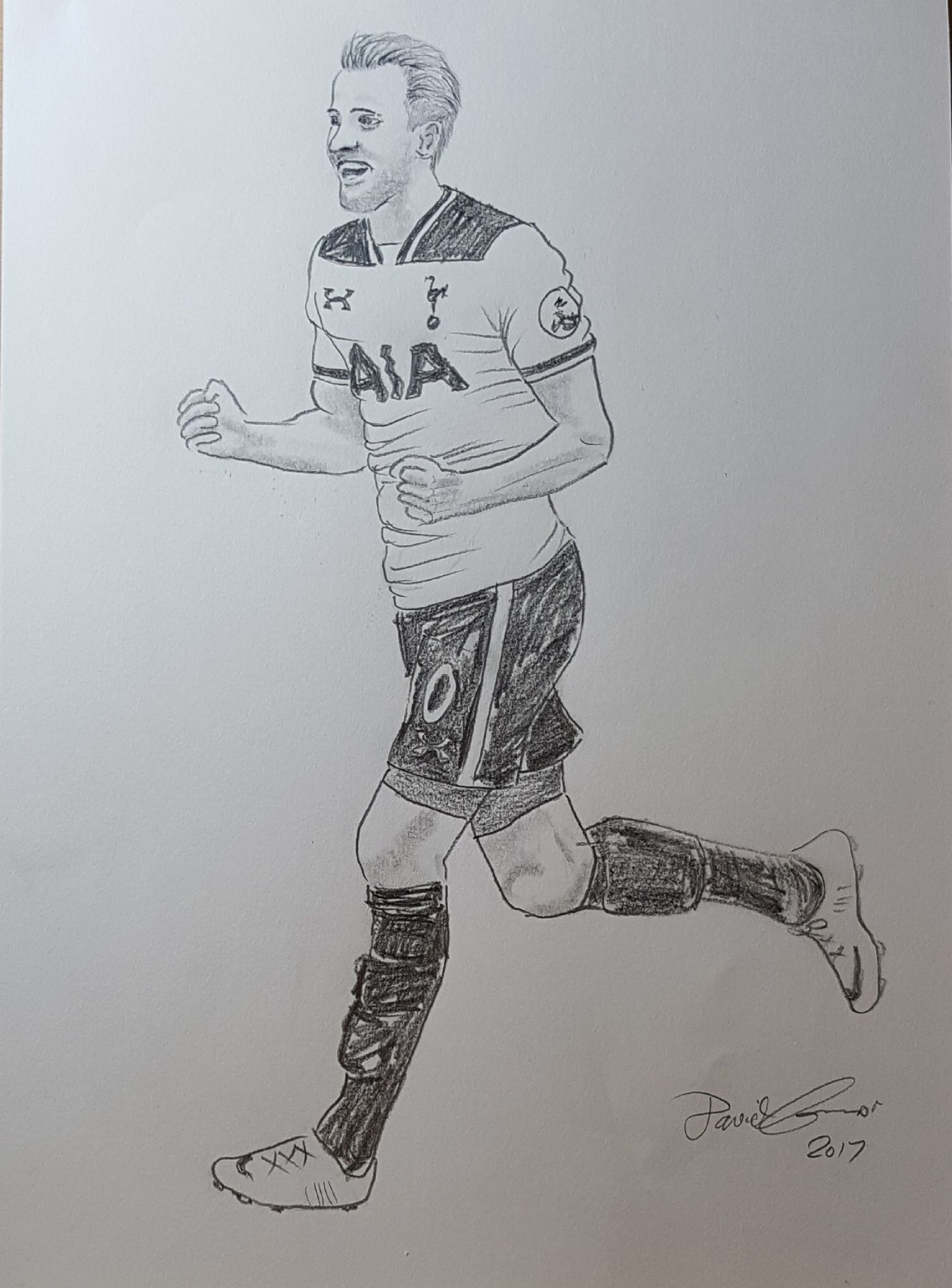 And Another Footballer By David Connor An Original Pencil Drawing
