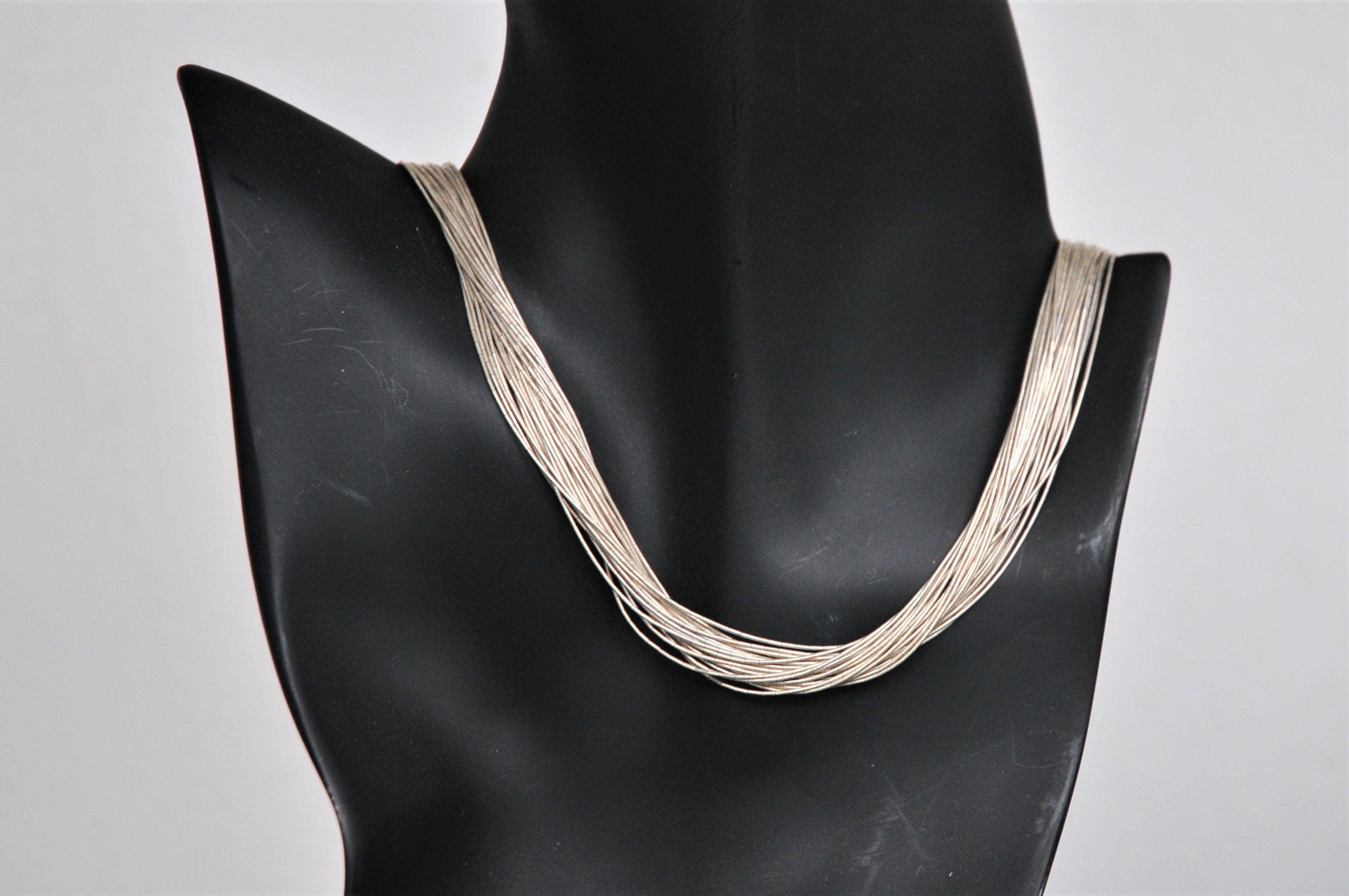 9d68a1ab76929 Sterling Liquid Silver Native American Necklace 18 Inches, 30 Strand ...