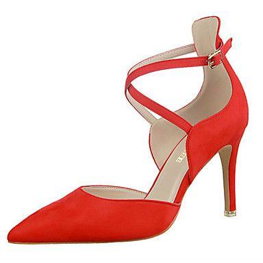 8b2d72e505e Women s Heels Spring Summer Fall Comfort Leather Dress Party   Evening  Stiletto Heel Buckle Black Pink Red Gray Walking 5352103 2017 –  38.60