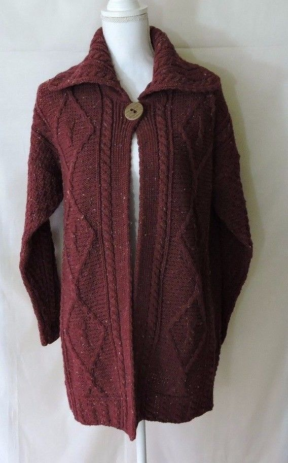 Carraig Donn New 100 Pure Wool Burgundy Cable Knit Sweater Cardigan
