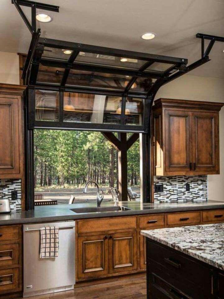 Kitchen Window Opens Like A Garage Door Home Kitchens Sweet