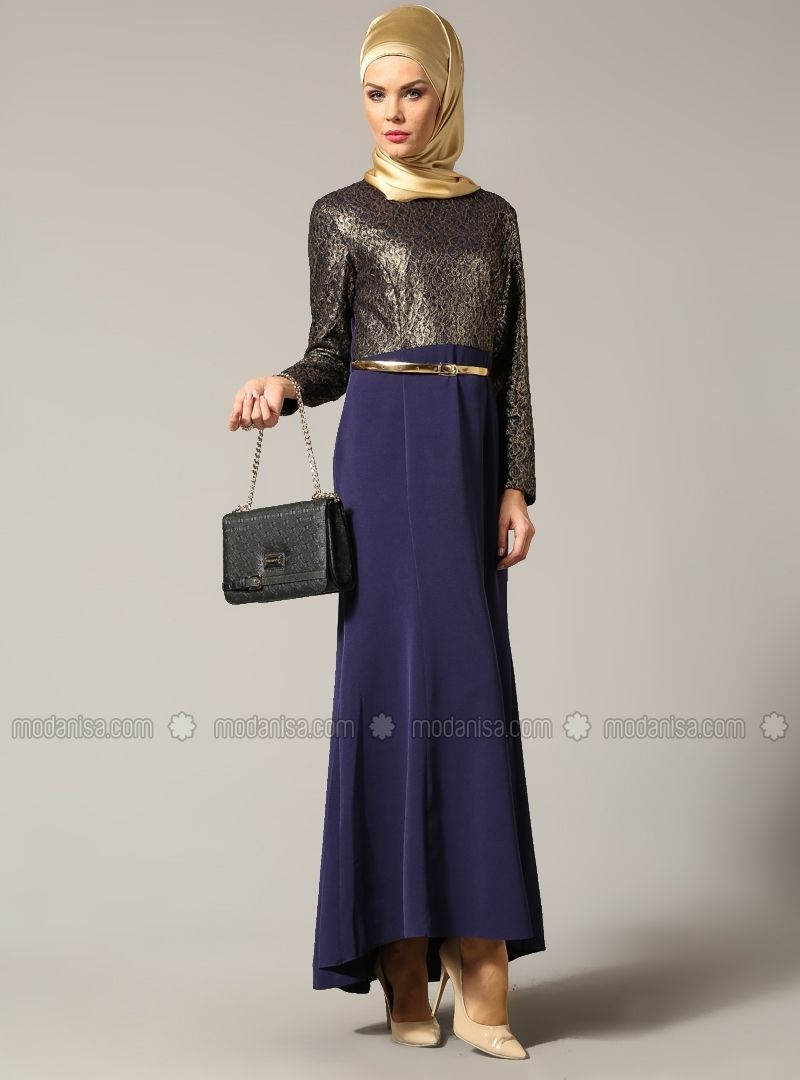 f4f57f2b9 Lace Evening Dress - Purple - Muslim Evening Dresses - Modanisa ...