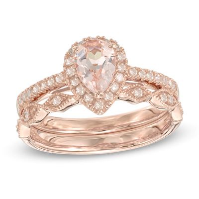 Precious Bride Pear Shaped Morganite And 1 4 Ct T W