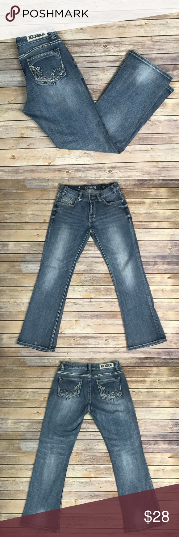 ROCK&ROLL Cowgirl Jeans 30x32 Mid Rise Reposhing Rock & Roll Cowgirl Jeans in Great Condition. Legs are not fitted and bit baggier than I like, so I'm reposhing. Jeans have no known stains or flaws and are mid rise. Size 30x32.   Waist- 30 Inseam- 32 Rock & Roll Cowgirl Jeans