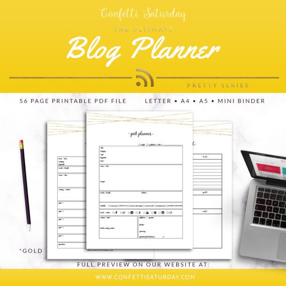 Blog Planner Printable, Gold Blog Organizer, NEW PAGES