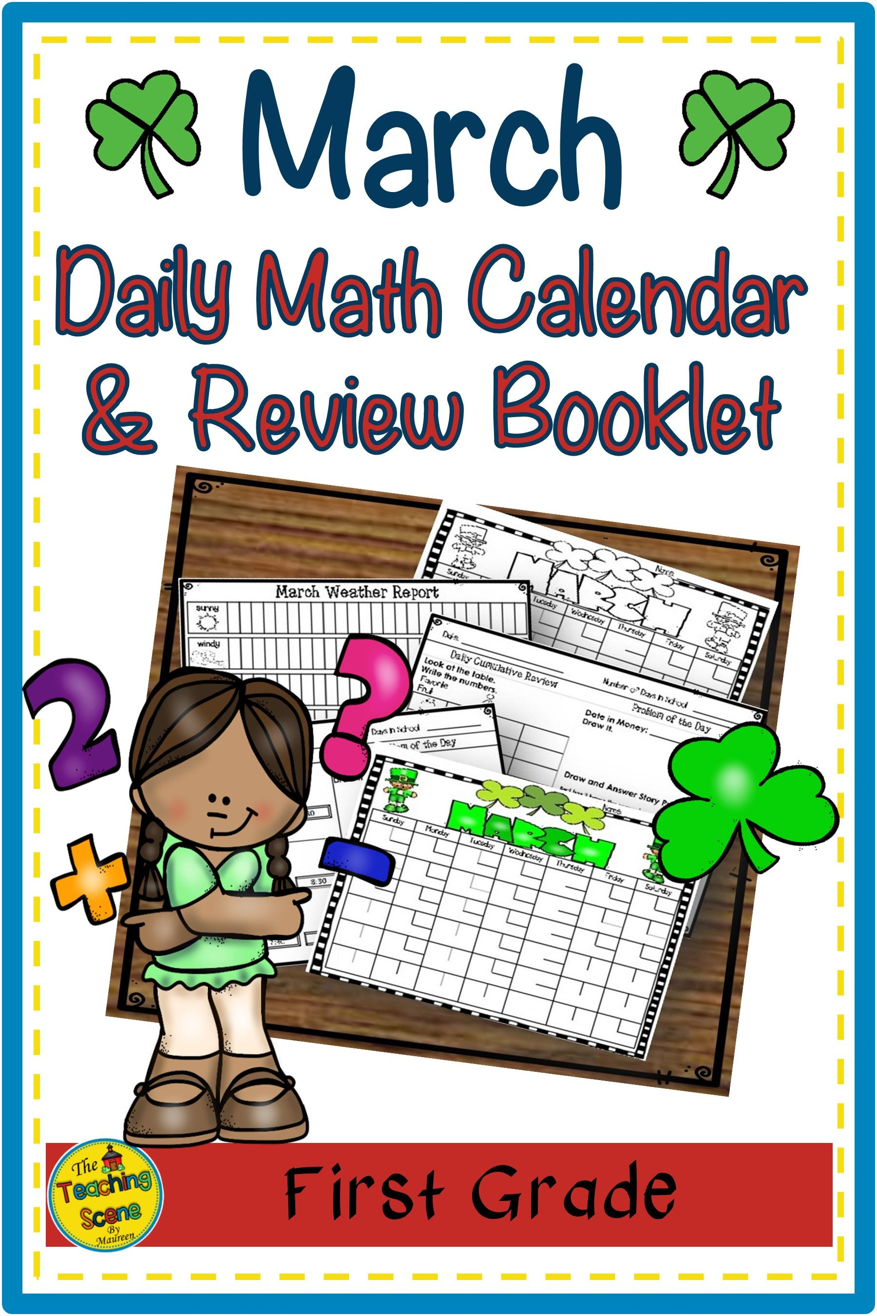 First Grade Daily Calendar Amp Math Review Booklet March