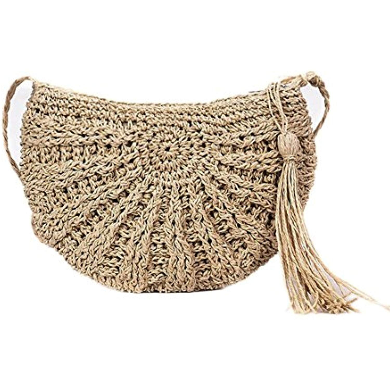 013b42117f33 Bamboo Handbag,SHZONS Handmade Tote Purse Straw Beach Bag Half Moon ...