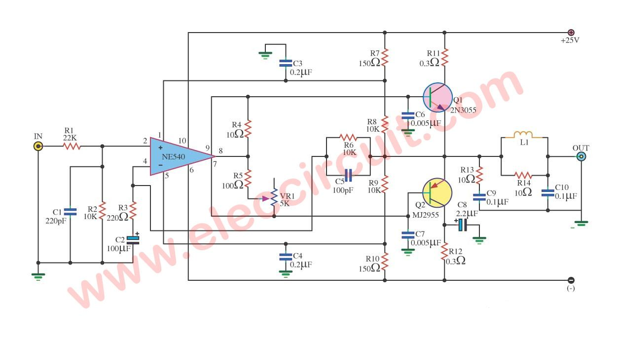 medium resolution of 35w ocl power amplifier circuit using ne540 2n3055 mj2955