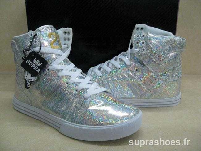 brillance blanche supra chaussures vaiders haute