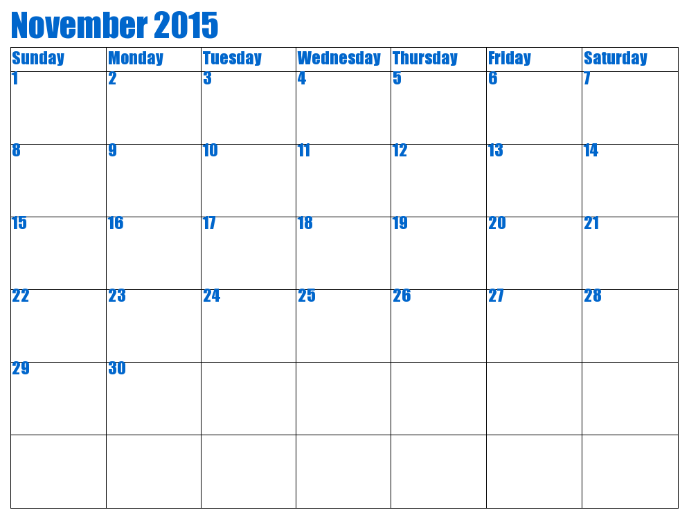 Feel Free To Download November 2015 Calendar Doc And November 2015