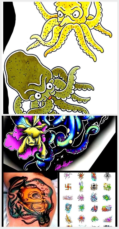 Photo of traditionelle japanische grüne und gelbe Krake Tattoo Flash-Zeichnung Design, #Design #drawing …