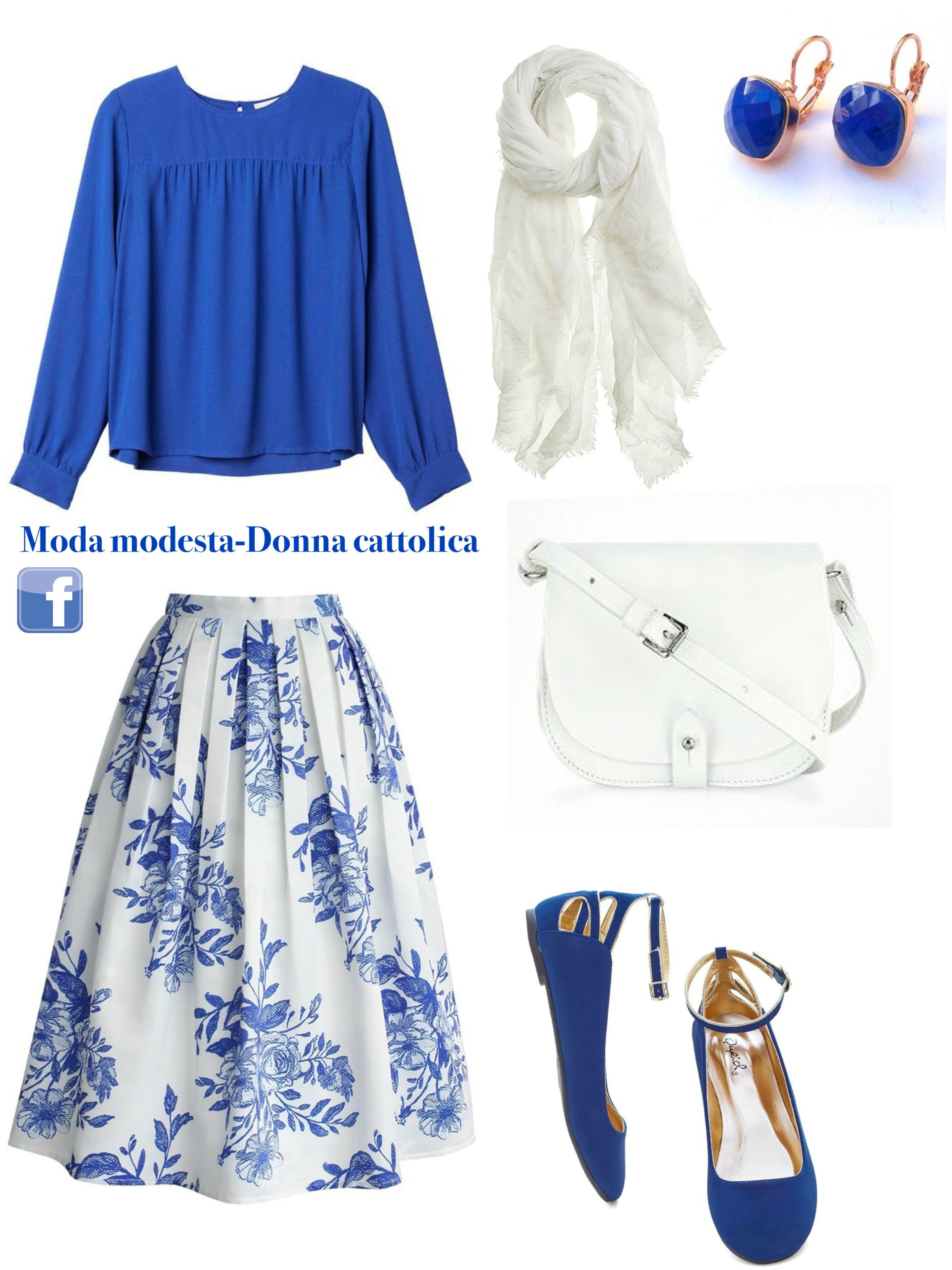 Un outfit modesto ed elegante.  blu  skirt  gonna  blusa  italian  moda   modesta… c5784559af4