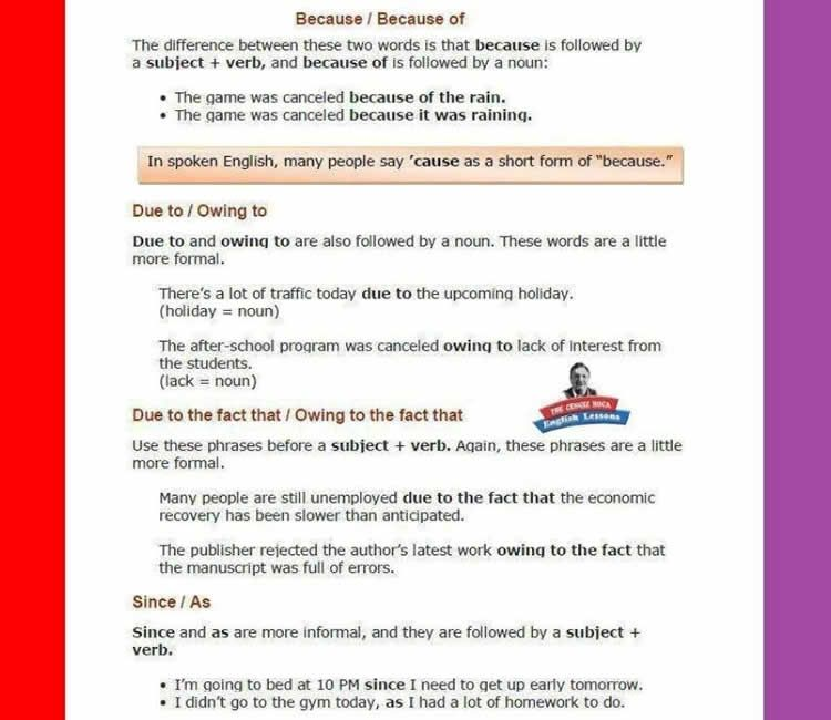 Because Because Of Due To Owing To Since As Grammar Exercises Vocabulary Invitation Letter For Event
