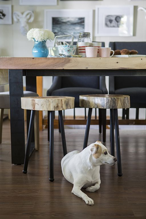 Your best friend makes the space even more adorable and chic! Those wooden chairs/stools though!