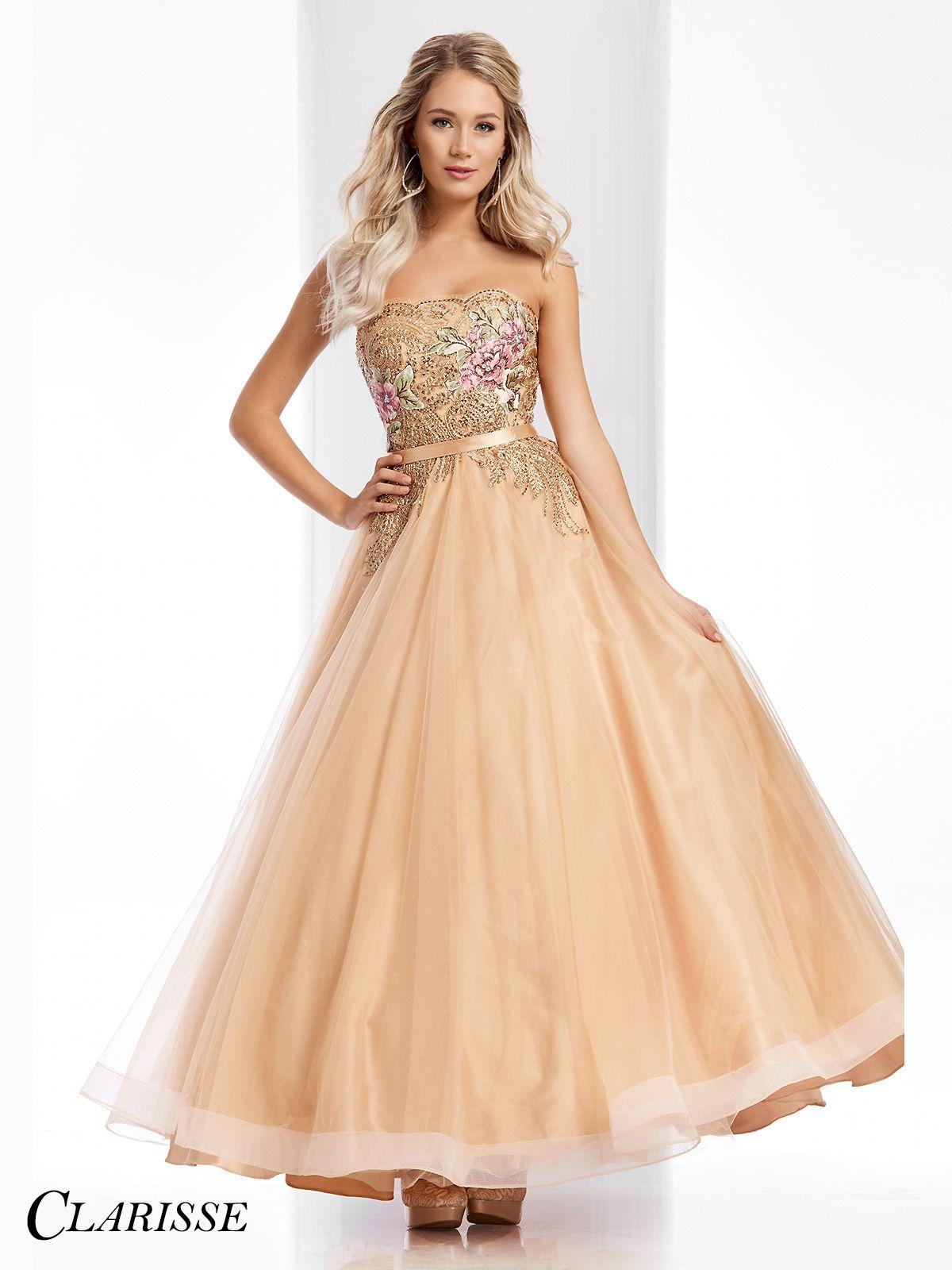 Clarisse Gold Floral Ball Gown 3010   Unique vintage, Ball gowns ...