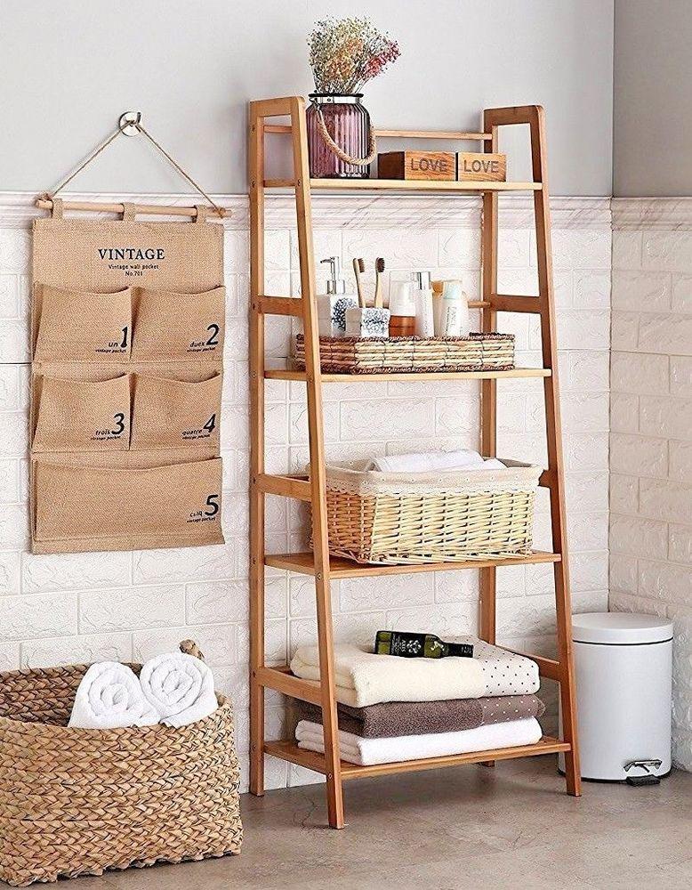Ladder Shelf Bookcase Rack Bookshelf Tier Bathroom Organizer Storage ...
