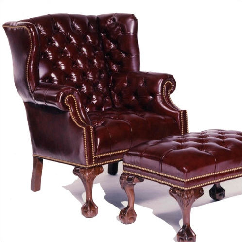 Distinction Leather Tufted Ball In Claw Leather Wing Chair